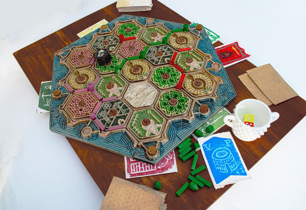 settlers of catan detailed wood carving cnc nyc